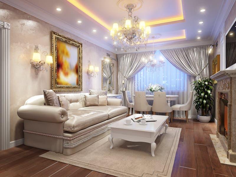 Luxuriöser klassischer barocker Wohnzimmerinnenraum stock abbildung