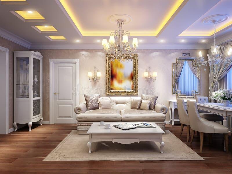 Luxuriöser klassischer barocker Wohnzimmerinnenraum vektor abbildung