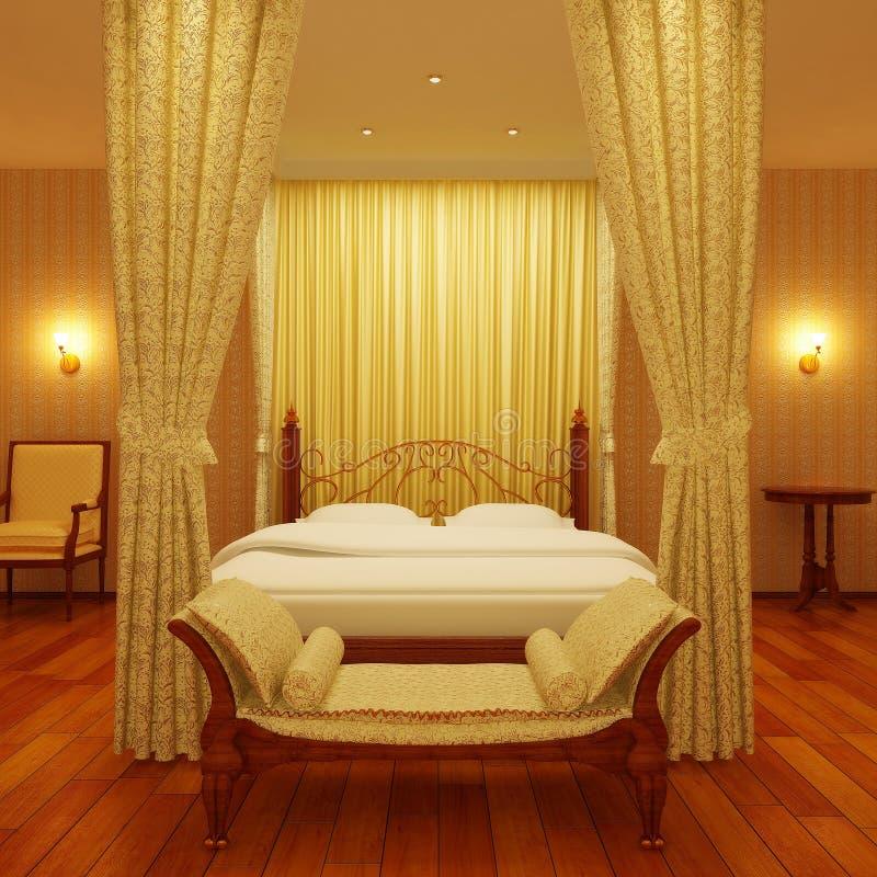 Luxuriöses Bett mit vier Plakaten lizenzfreie stockbilder