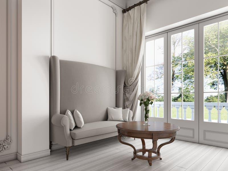 Luxuriöses Sofa durch große panoramische Windows und einen Couchtisch vektor abbildung