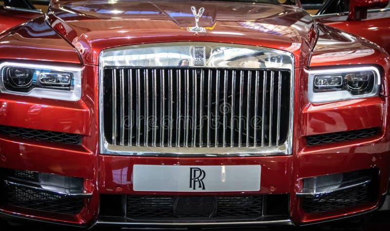Luxuries red Rolls Royce Cullinan SUV on 54th Belgrade international car and motor show. Belgrade - Serbia stock image