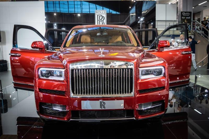 Luxuries red Rolls Royce Cullinan SUV on 54th Belgrade international car and motor show. Belgrade - Serbia stock photos