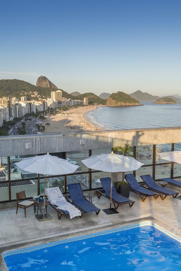 Luxurious aerial view of Copacabana beach stock photos