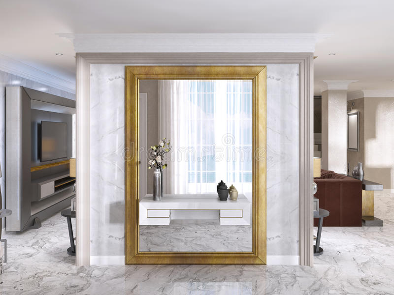 Download Luxurious Art Deco Entrance Hall With A Large Designer Mirror.  Stock Illustration