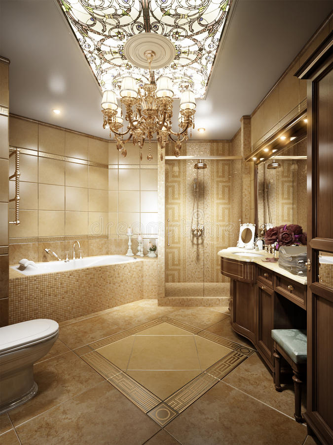 Luxurious bathroom in classic style with crystal chandeliers stock photo