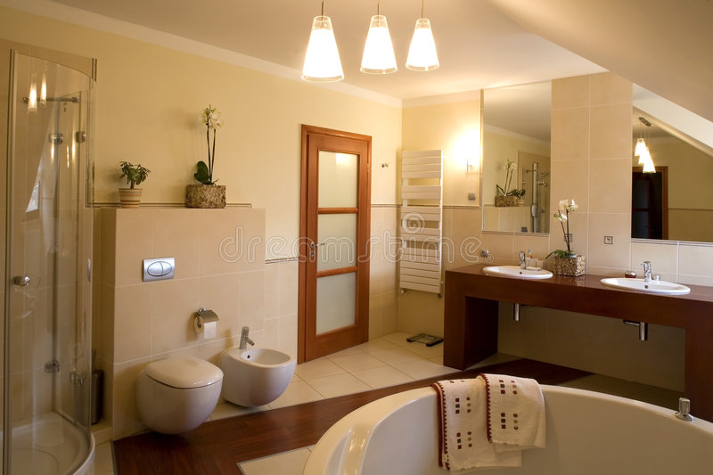 Luxurious bathroom interior royalty free stock images