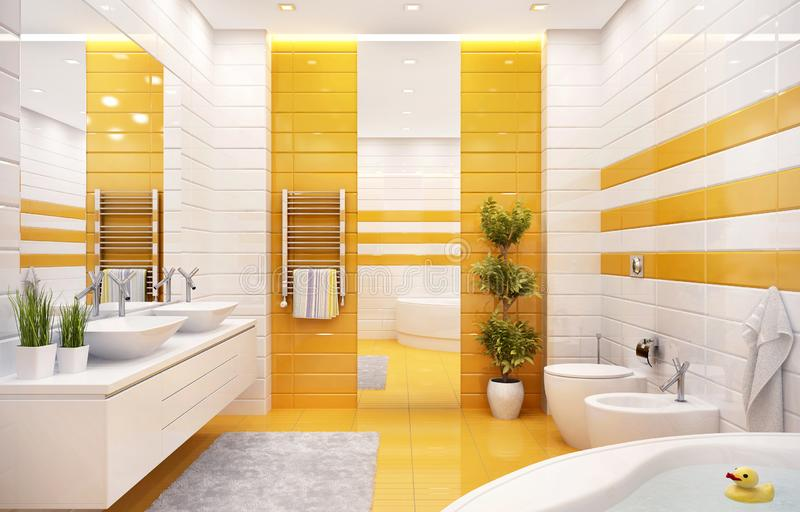 Luxurious bathroom with large bath and two sinks. Modern bathroom with large bath and two sinks royalty free stock photos