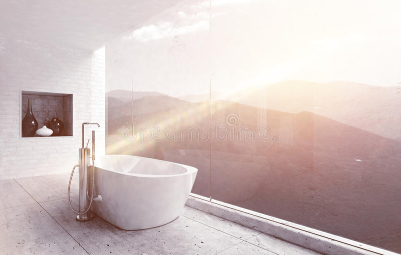 Luxurious bathroom with window facing mountains stock image