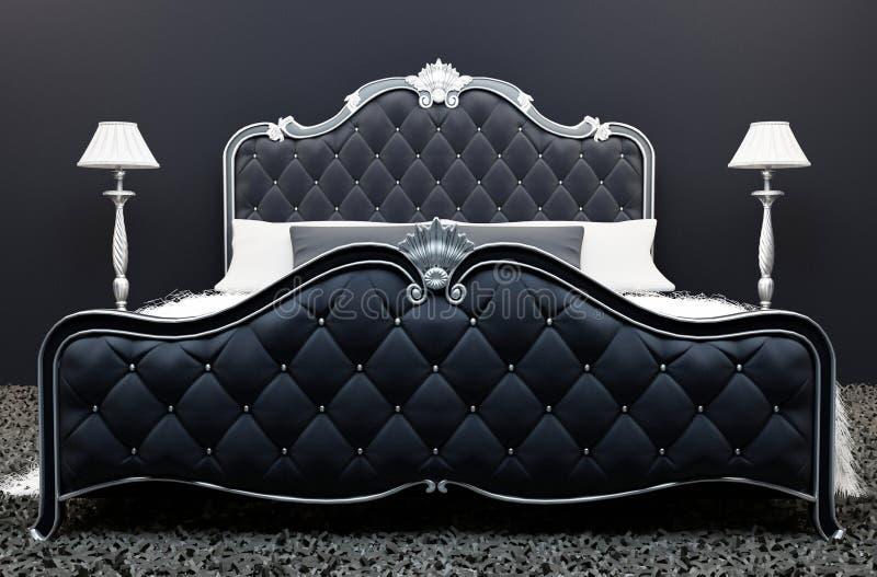 Luxurious bed in modern bedroom interior stock illustration