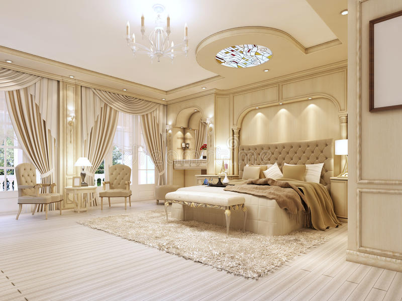 Luxurious Bedroom In Pastel Colours In A Neoclassical