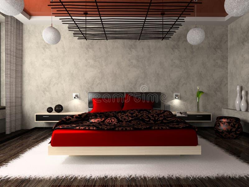 Luxurious bedroom in red. 3D rendering