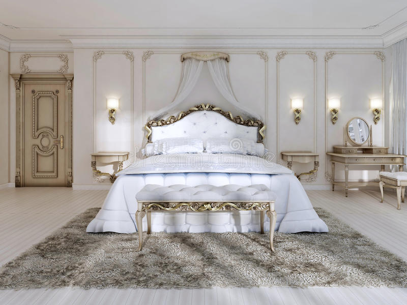 Luxurious bedroom in white colors in a classic style. vector illustration