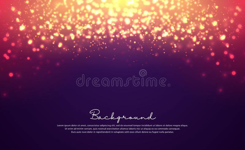Luxurious bokeh glitter circle background. Defocused bokeh glitter light on dark background. Dynamic abstract particle background royalty free illustration