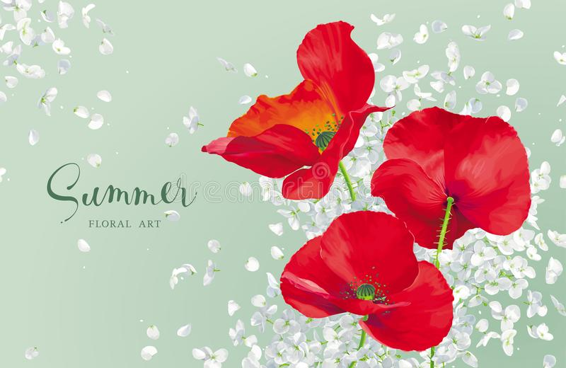 Luxurious bright red vector Poppy and white Hydrandea flowers dr. Awing in watercolor style with flying petals for floral decoration vector illustration