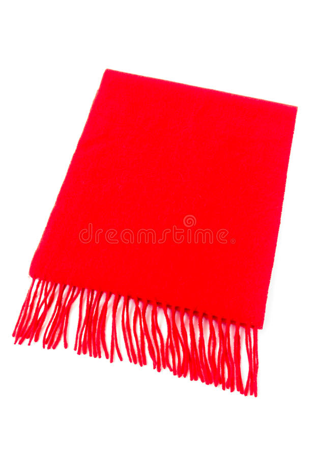 Luxurious Cashmere Scarf in Red. Luxurious red cashmere scarf out of pure cashmere wool isolated on white background stock photography
