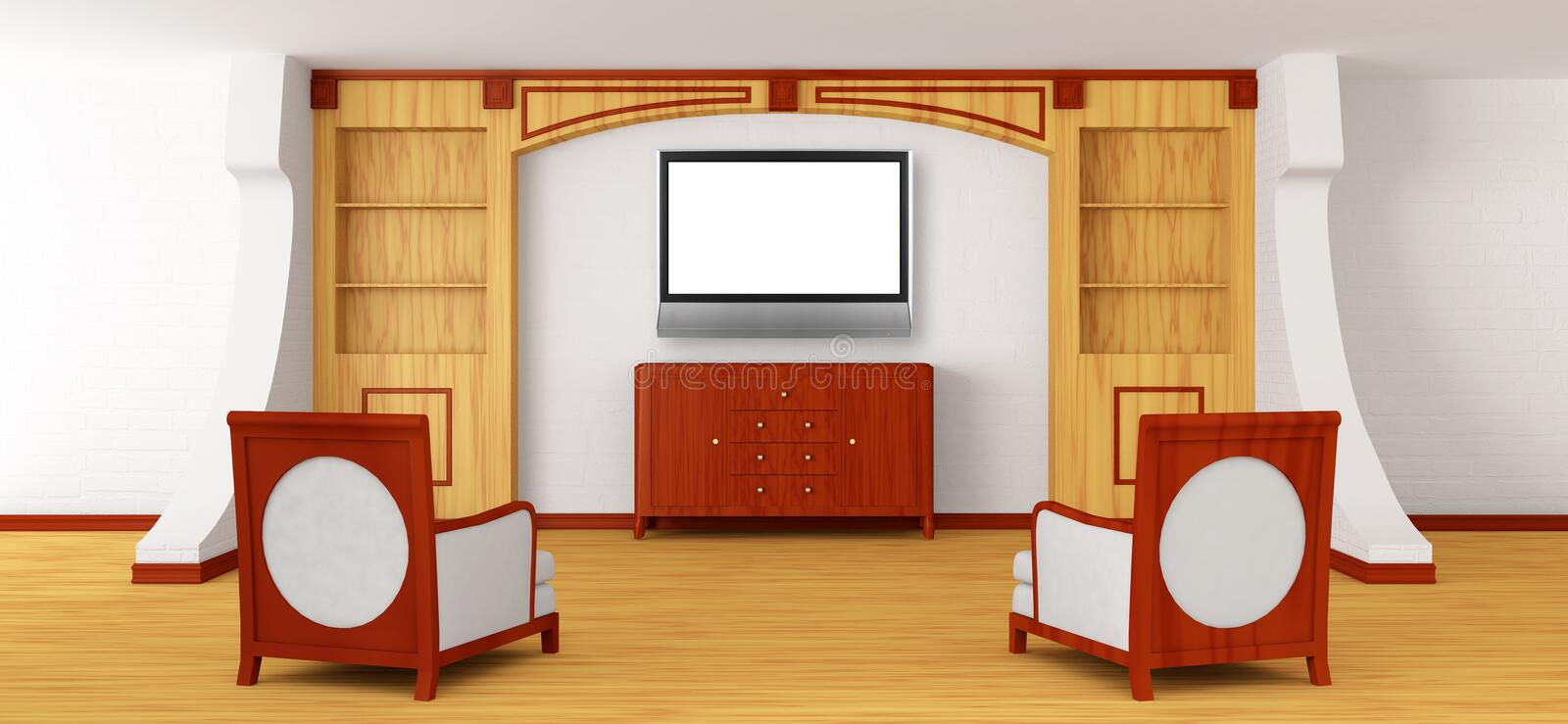 Download Luxurious Chairs, Bureau And Lcd Tv With Bookcase Stock Illustration - Image: 20592067