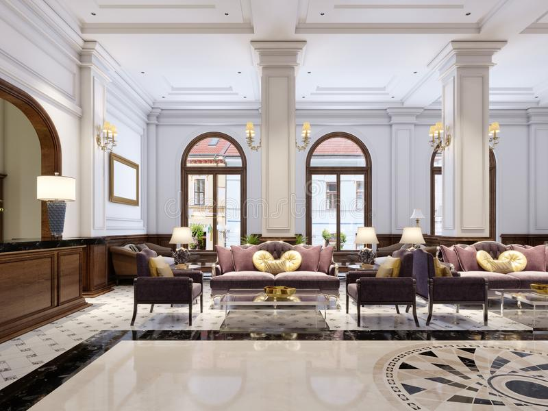 Luxurious classical furniture in art deco style, soft purple sofa and armchairs with black metal legs and a glass coffee table in royalty free illustration