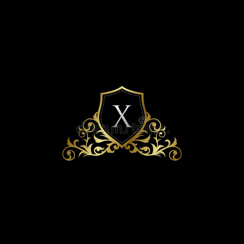 Luxurious Classy Letter X Logo Vector. Suitable with classy and vintage theme stock illustration