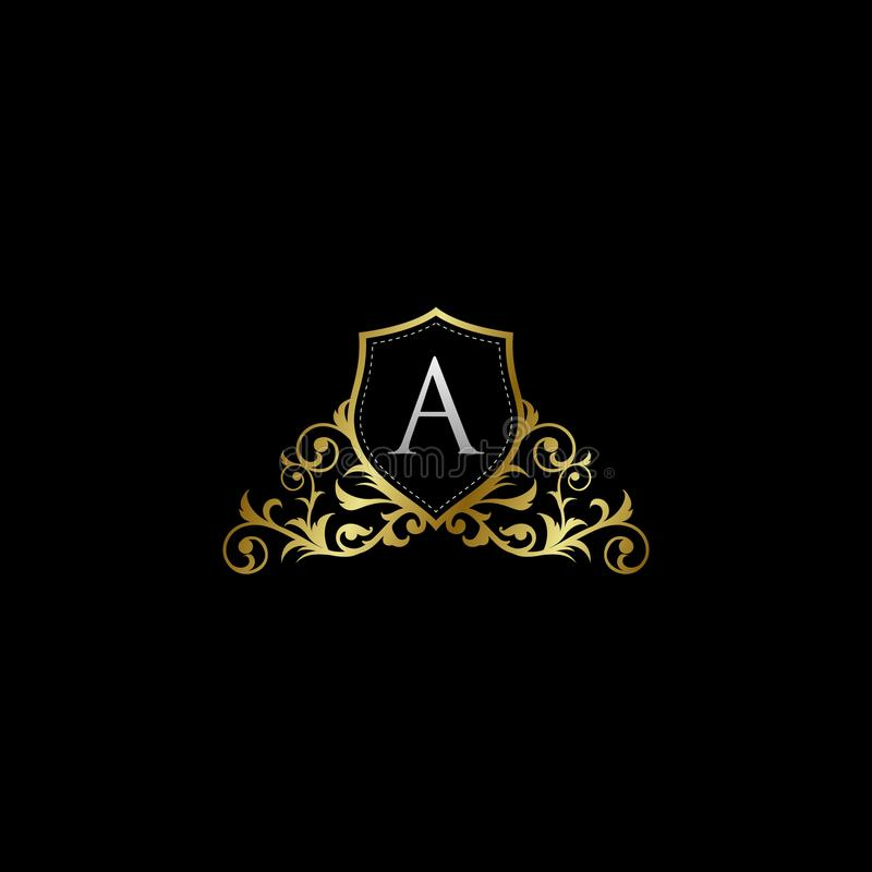 Luxurious Classy Letter A Logo Vector. Suitable with classy and vintage theme stock illustration