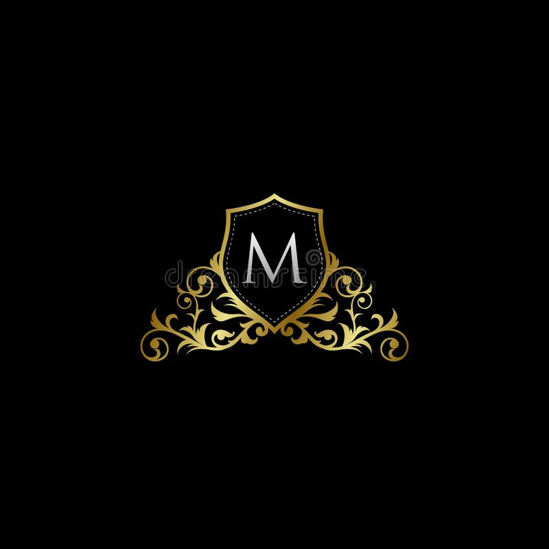 Luxurious Classy Letter M Logo Vector. Suitable with classy and vintage theme stock illustration