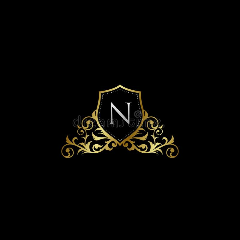 Luxurious Classy Letter N Logo Vector. Suitable with classy and vintage theme royalty free illustration