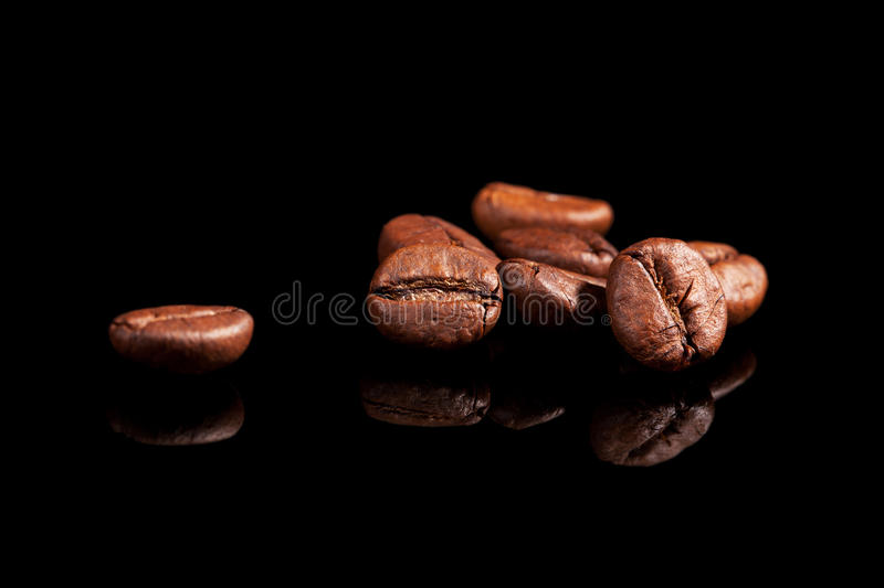 Luxurious coffee beans on black. stock photography