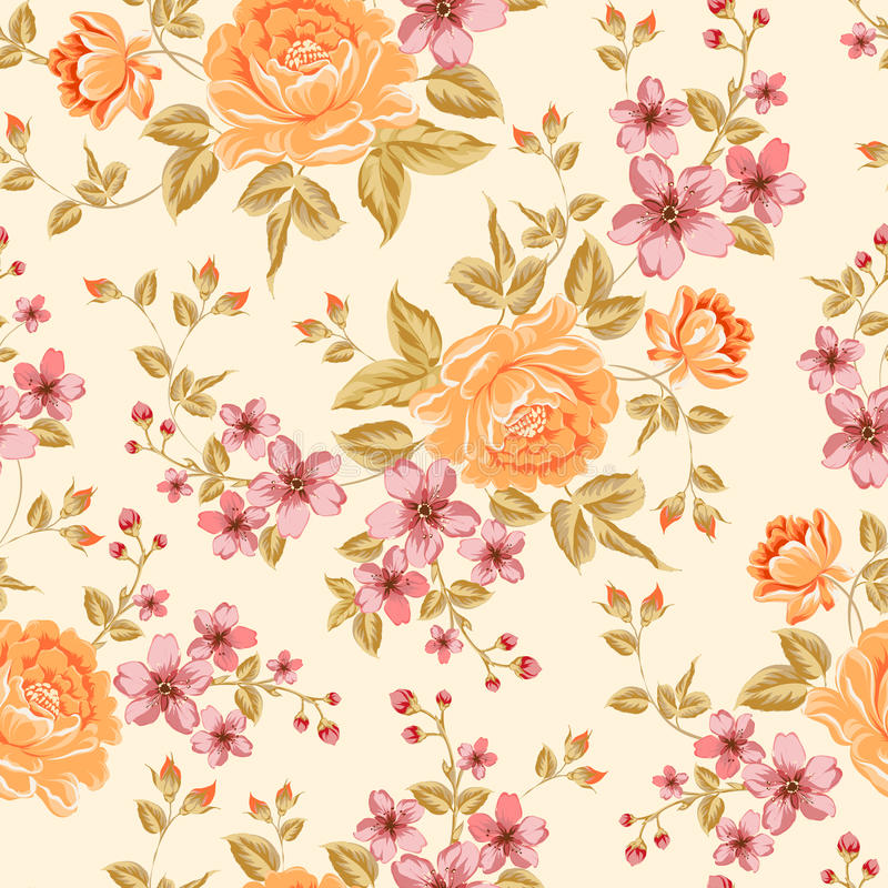 Luxurious color peony pattern. Luxurious color peony seamless pattern. Vector illistration royalty free illustration