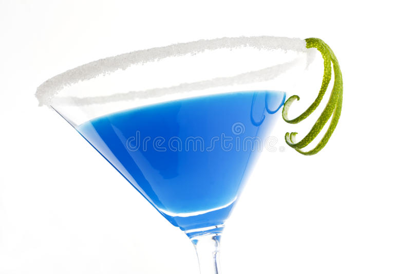 Luxurious creamy blue cocktail on white.