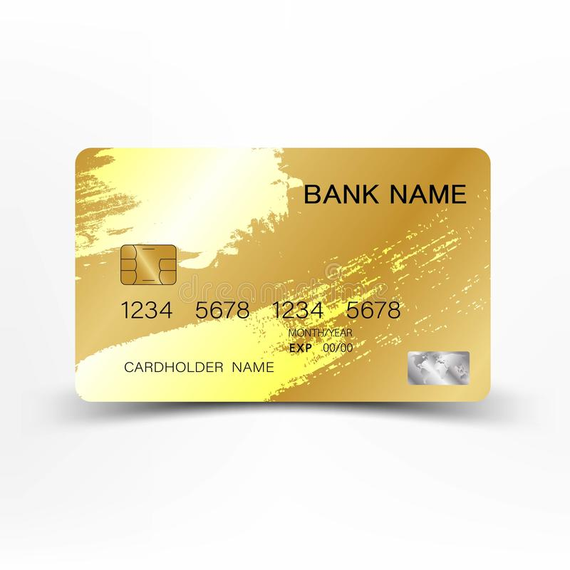 Luxurious credit card gold color on white background. royalty free illustration