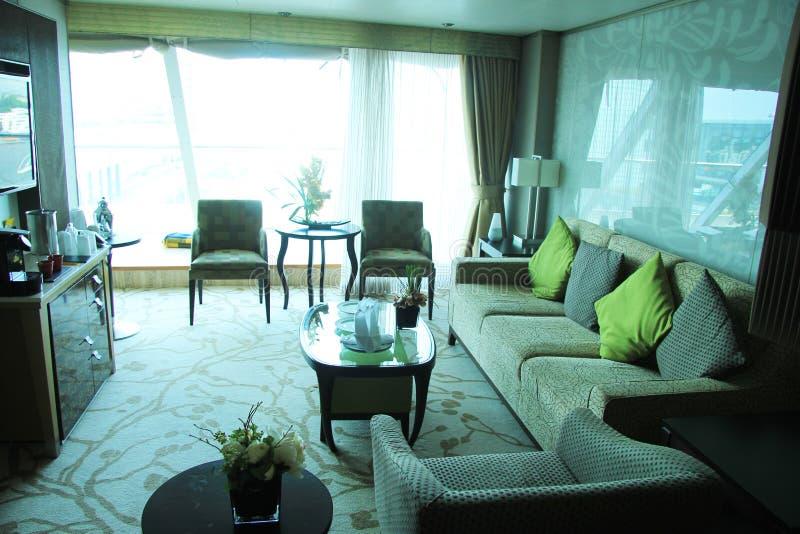 Luxurious cruise ship cabin stock image