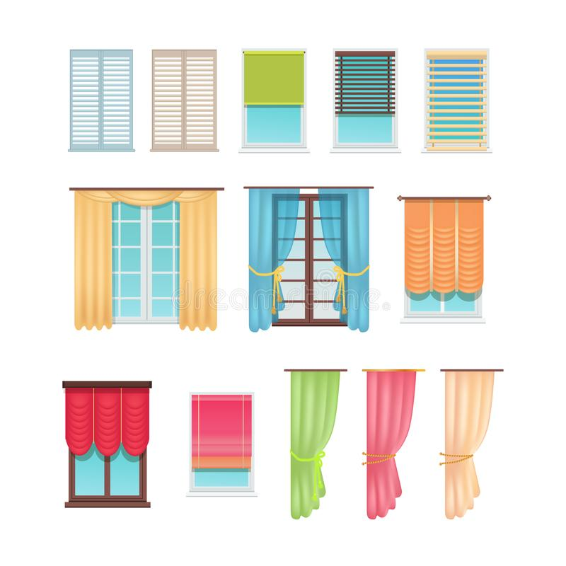 Luxurious Curtains and Practical Jalousies Set stock illustration