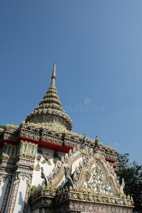 Luxurious decoration of the roof and spire of a Buddhist temple stock photos