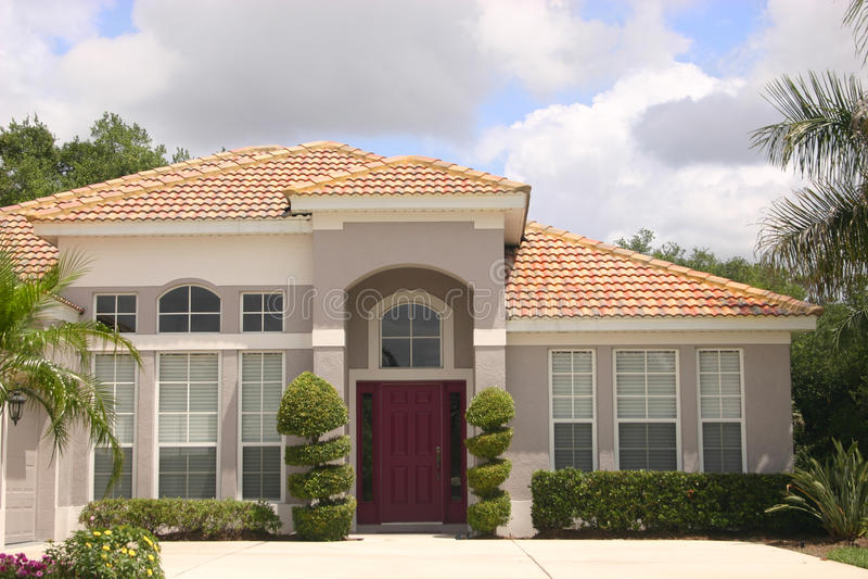 Luxurious detached house stock photos