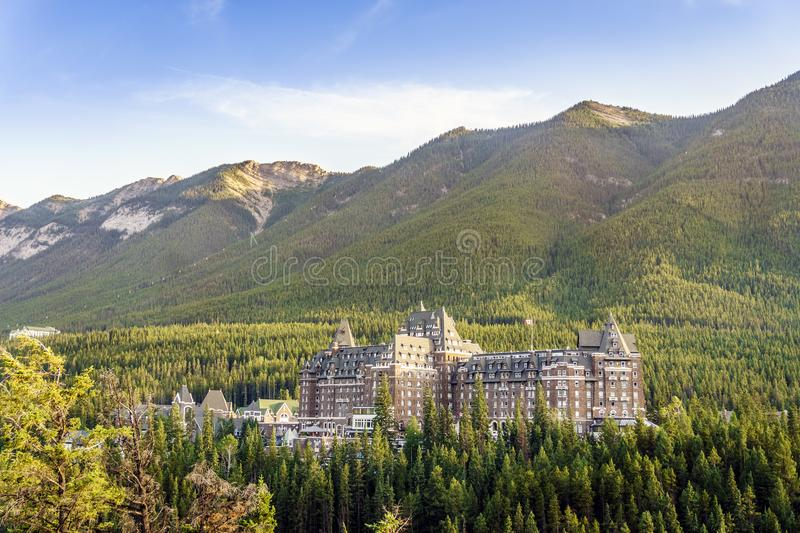 Luxurious Fairmont hotel located in canadian Rockies mountains. Luxurious Fairmont hotel located in canadian Rocky mountains, Alberta, Canada royalty free stock photo