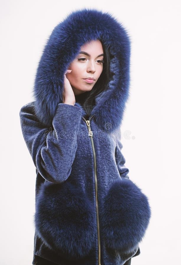 Luxurious fur. Girl posing hooded fur coat. Female with makeup wear dark blue soft fur coat. Woman wear hood with fur. Fashion concept. Girl elegant lady wear stock photo