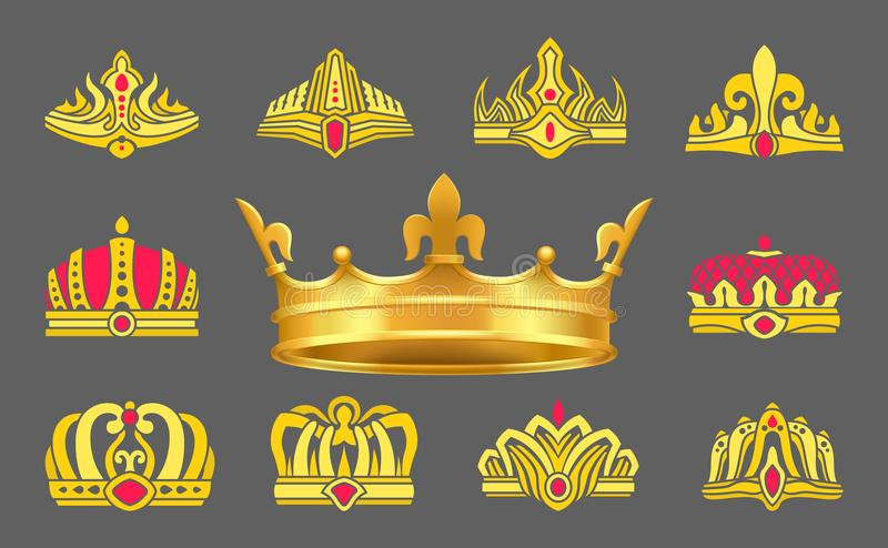 Luxurious Gold Crowns Inlaid with Ruby Stones Set. Heraldic accessories for whole royal family. Expensive crowns of gold vector illustrations set stock illustration