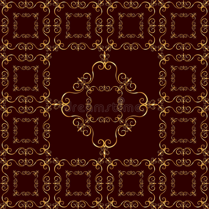 Luxurious golden ornament on red background. Seamless pattern royalty free illustration
