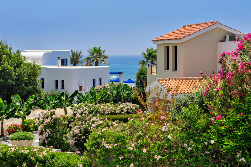 Luxurious holiday beach villas. For rent on Cyprus stock photo