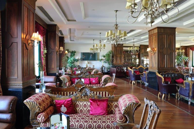 Luxurious hotel lobby area. Located in Antalya, Turkey stock photography