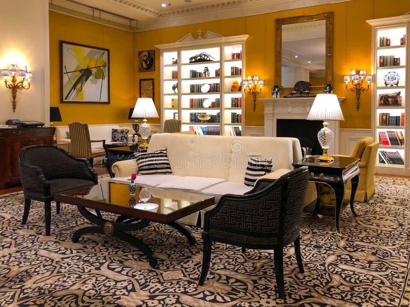Luxurious hotel lobby interior of Ritz Carlton Tianjin. China stock image