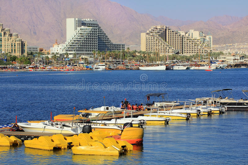 Luxurious hotels in popular resort - Eilat, Israel. Eilat, Israel - MAY 24 : views of the luxurious hotels in popular resort - Eilat of Israel from Gulf of Eilat stock images