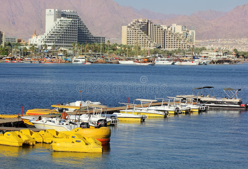 Luxurious hotels in popular resort - Eilat, Israel. Eilat, Israel - MAY 24 : views of the luxurious hotels in popular resort - Eilat of Israel from Gulf of Eilat royalty free stock photography