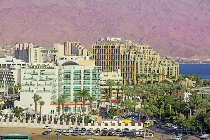 Luxurious hotels in popular resort - Eilat, Israel. Eilat, Israel - MAY 24 : views of the luxurious hotels in popular resort - Eilat of Israel from Gulf of Eilat stock image