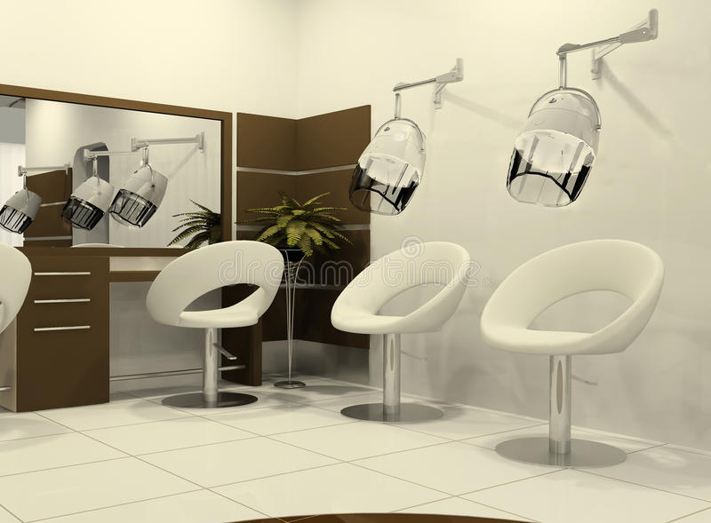 Luxurious interior of a hairdressing salon stock illustration