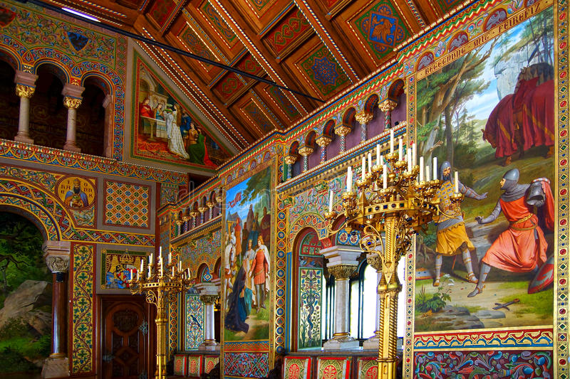 Luxurious interior of the Neuschwanstein Castle. stock photos