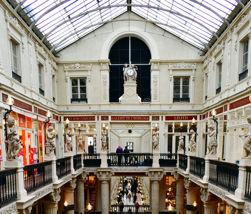 Luxurious interior of the shopping arcade Passage Pommeraye , Nantes, France stock photo