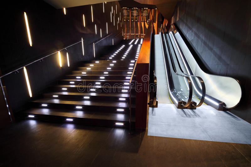 Luxurious interior with stair and escalator royalty free stock images