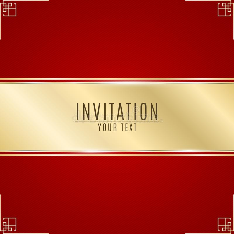 Luxurious invitation. Golden ribbon banner on a red background with a pattern of oblique lines. Golden frame. Realistic gold strip stock illustration
