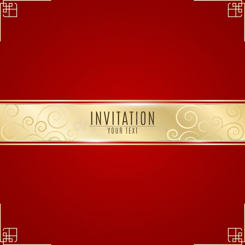Luxurious invitation. Golden ribbon banner on a red background with a pattern of oblique lines. Realistic gold strip with an inscr stock illustration