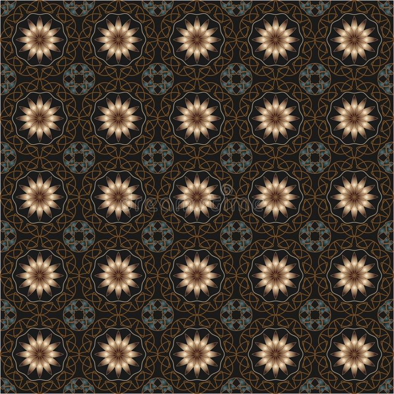 Luxurious kings vintage seamless pattern. The pattern with vintage decorative ornament with flowers on black background vector illustration